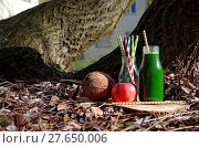 Купить «Green smoothie with spinach, apple and coconat (exterior shot)», фото № 27650006, снято 19 августа 2018 г. (c) easy Fotostock / Фотобанк Лори