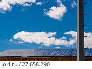 Купить «Solar panels on roof», фото № 27658290, снято 19 июня 2019 г. (c) PantherMedia / Фотобанк Лори