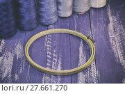 Купить «Vintage photo of wooden hoops for embroidery», фото № 27661270, снято 23 февраля 2018 г. (c) PantherMedia / Фотобанк Лори