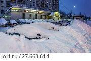 Купить «Митино. Последствия снегопада.», эксклюзивное фото № 27663614, снято 5 февраля 2018 г. (c) Виктор Тараканов / Фотобанк Лори
