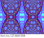 Купить «Abstract geometric seamless background. Intricate diamond pattern in purple shades with turquoise blue, red violet, brown and green elements. Ornate and extensive ornaments.», фото № 27669594, снято 24 октября 2018 г. (c) PantherMedia / Фотобанк Лори
