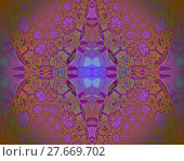 Купить «Geometric seamless background.  Intricate diamond pattern with abstract blossoms in purple shades with green, orange and brown elements. Ornate and extensive ornament, centered and blurred.», фото № 27669702, снято 24 октября 2018 г. (c) PantherMedia / Фотобанк Лори