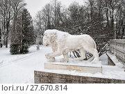 Купить «Скульптура льва возле Елагина дворца. Санкт-Петербург», фото № 27670814, снято 9 февраля 2018 г. (c) Румянцева Наталия / Фотобанк Лори