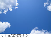 Купить «Bright midday blue sky with clouds», фото № 27673910, снято 19 августа 2019 г. (c) PantherMedia / Фотобанк Лори
