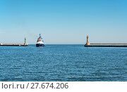 Купить «Entrance to Gdynia harbor in Poland», фото № 27674206, снято 15 октября 2018 г. (c) PantherMedia / Фотобанк Лори