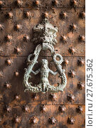 Купить «Ancient wooden spiked door detail i», фото № 27675362, снято 26 апреля 2018 г. (c) PantherMedia / Фотобанк Лори