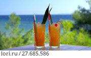 Купить «Ice cubes falling into two glasses of cocktail», видеоролик № 27685586, снято 22 мая 2019 г. (c) Данил Руденко / Фотобанк Лори