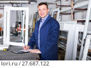 Купить «Supplier is taking order from customer», фото № 27687122, снято 30 марта 2017 г. (c) Яков Филимонов / Фотобанк Лори