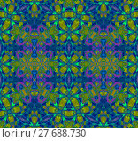 Купить «Abstract geometric seamless background. Ornate ellipses and diamond pattern in purple, dark blue and green shades with orange elements, extensive and intricate.», фото № 27688730, снято 24 октября 2018 г. (c) PantherMedia / Фотобанк Лори