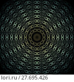 Купить «Abstract geometric seamless background. Shiny concentric circle ornament with diamond pattern gold, pale green and silver gray on black, centered and blurred.», фото № 27695426, снято 22 июля 2018 г. (c) PantherMedia / Фотобанк Лори
