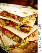 Купить «Turkey quesadillas close up angle», фото № 27701226, снято 23 мая 2019 г. (c) PantherMedia / Фотобанк Лори