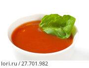 Купить «bowl of tomato soup», фото № 27701982, снято 22 июля 2019 г. (c) PantherMedia / Фотобанк Лори