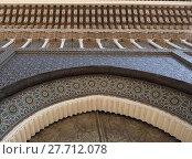 Купить «Fragment of Arabesque Architecture, door of imperial palace in Casablanca, Morocco», фото № 27712078, снято 20 апреля 2019 г. (c) PantherMedia / Фотобанк Лори
