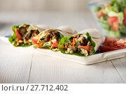 Купить «Grilled chicken burrito wraps», фото № 27712402, снято 16 февраля 2019 г. (c) PantherMedia / Фотобанк Лори