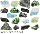 Купить «set of various Diopside minerals and gemstones», фото № 27712778, снято 23 января 2019 г. (c) PantherMedia / Фотобанк Лори