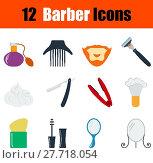 Купить «Flat design barber icon set», иллюстрация № 27718054 (c) PantherMedia / Фотобанк Лори