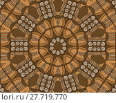 Купить «Abstract geometric seamless background. Concentric circle ornament with beige spiral pattern and elements in ocher and brown shades with black outlines, drawing.», фото № 27719770, снято 22 апреля 2018 г. (c) PantherMedia / Фотобанк Лори