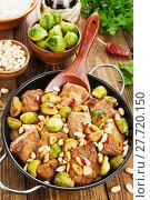 Купить «Stewed pork with brussels sprouts», фото № 27720150, снято 26 апреля 2017 г. (c) Надежда Мишкова / Фотобанк Лори