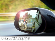 Купить «Car side mirror view with sunlight glare», фото № 27722118, снято 24 августа 2019 г. (c) PantherMedia / Фотобанк Лори