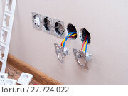 installation of electrical outlets. Стоковое фото, фотограф Myroslav Kuchynskyi / Фотобанк Лори