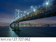 Купить «Dusk over Oakland-San Francisco Bay Bridge and San Francisco Skyline, California», фото № 27727062, снято 16 сентября 2019 г. (c) PantherMedia / Фотобанк Лори