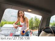 Купить «Beautiful young woman shopping in a grocery store/supermarket, putting the groceries she bought in her car (color toned image)», фото № 27730138, снято 18 июня 2019 г. (c) PantherMedia / Фотобанк Лори