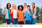 Купить «group of women showing ok sign at red nose day», фото № 27731726, снято 18 марта 2017 г. (c) Syda Productions / Фотобанк Лори