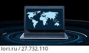 Купить «world map on laptop computer screen», фото № 27732110, снято 14 ноября 2013 г. (c) Syda Productions / Фотобанк Лори