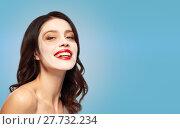 Купить «beautiful young woman with hydrogel mask on face», фото № 27732234, снято 5 января 2018 г. (c) Syda Productions / Фотобанк Лори