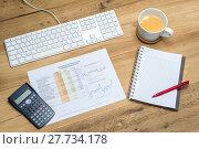 Купить «Accountant's workplace with supplies and spreadsheet», фото № 27734178, снято 21 февраля 2018 г. (c) PantherMedia / Фотобанк Лори