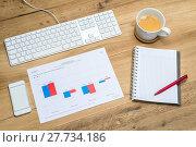 Купить «Accountant's workplace with supplies and spreadsheet», фото № 27734186, снято 21 февраля 2018 г. (c) PantherMedia / Фотобанк Лори
