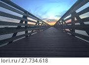Купить «Wooden Boardwalk at sunset», фото № 27734618, снято 18 июня 2019 г. (c) PantherMedia / Фотобанк Лори