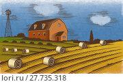 Купить «Farm landscape. Engraved Color Vector Illustration.», фото № 27735318, снято 20 апреля 2018 г. (c) PantherMedia / Фотобанк Лори