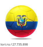 Купить «3D soccer ball with Ecuador team flag», фото № 27735898, снято 22 октября 2018 г. (c) PantherMedia / Фотобанк Лори