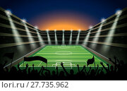 Купить «Excited crowd of people at a soccer stadium. vector», иллюстрация № 27735962 (c) PantherMedia / Фотобанк Лори