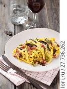 Купить «Italian food. Pasta Carbonara.», фото № 27736262, снято 14 декабря 2018 г. (c) PantherMedia / Фотобанк Лори