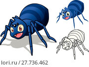 Купить «High Quality Detailed Spider Cartoon Character with Flat Design and Line Art Black and White Version Vector Illustration», иллюстрация № 27736462 (c) PantherMedia / Фотобанк Лори
