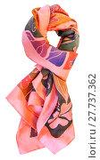 Купить «knotted batik silk pink scarf with floral pattern», фото № 27737362, снято 19 июня 2019 г. (c) PantherMedia / Фотобанк Лори