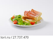 Купить «bread with ham and salad greens», фото № 27737470, снято 15 июля 2020 г. (c) PantherMedia / Фотобанк Лори