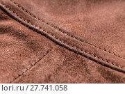 Купить «Brown leather, seam», фото № 27741058, снято 23 июля 2018 г. (c) PantherMedia / Фотобанк Лори