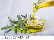 Купить «Bottle pouring virgin extra olive oil in a bowl», фото № 27743494, снято 19 февраля 2019 г. (c) PantherMedia / Фотобанк Лори