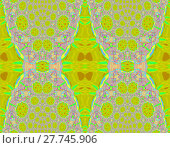 Купить «Abstract geometric seamless background. Intricate diamond and circles pattern in lemon lime green, violet, light blue and pink shades, ornate and extensive ornaments.», фото № 27745906, снято 24 октября 2018 г. (c) PantherMedia / Фотобанк Лори