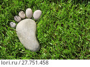 Купить «footprint in the grass with space for text», фото № 27751458, снято 20 октября 2018 г. (c) PantherMedia / Фотобанк Лори