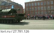 MOSCOW, RUSSIA - MAY 09: The parade of military equipment during the celebrations of the 70th anniversary of the victory over Nazi Germany during the Second World War, Moscow on 09 May 2015, Russia. Редакционное видео, видеограф Алексей Кузнецов / Фотобанк Лори