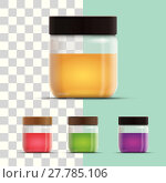 Купить «Vector realistic illustration of honey or jam jar collection. », иллюстрация № 27785106 (c) PantherMedia / Фотобанк Лори