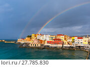 Купить «Old harbour in sunny day, Chania, Crete, Greece», фото № 27785830, снято 18 июня 2019 г. (c) PantherMedia / Фотобанк Лори