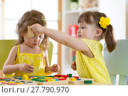 Купить «Children play educational toys in kindergarten», фото № 27790970, снято 20 сентября 2018 г. (c) Оксана Кузьмина / Фотобанк Лори
