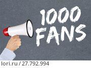 Купить «1000 fans likes social media networks concept of megafon», фото № 27792994, снято 17 июля 2018 г. (c) PantherMedia / Фотобанк Лори