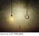 Купить «Surreal backround of a man standing with wide opened hands in front of a huge bulb and a clock. Business time and idea concept», фото № 27795054, снято 16 октября 2018 г. (c) PantherMedia / Фотобанк Лори