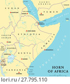 Купить «Horn of Africa Political Map», иллюстрация № 27795110 (c) PantherMedia / Фотобанк Лори